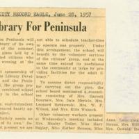 """Plan Library for Peninsula"", 28 June 1957"