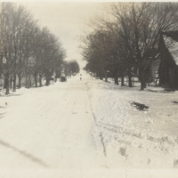 Kingsley, covered in snow, looking east from Dunn's Mill, from Dr. Finzel, ca. 1920s