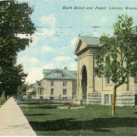 """Sixth Street and Public Library, Traverse City,"" ca. 1910"