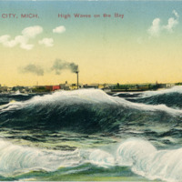 """High Waves on the Bay, Traverse City,"" ca. 1920"