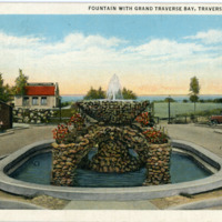 """Fountain with Grand Traverse Bay,"" ca. 1935"